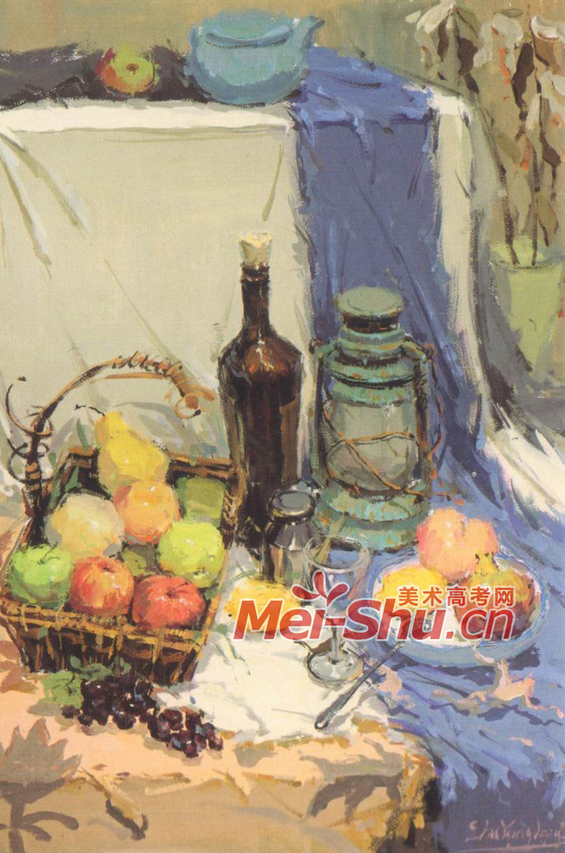 色彩静物范画玻璃瓶橘子葡萄花瓶青花罐子