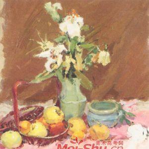 色彩静物水粉水彩 画水果 鲜 花花 瓶果子苹果梨子 图5