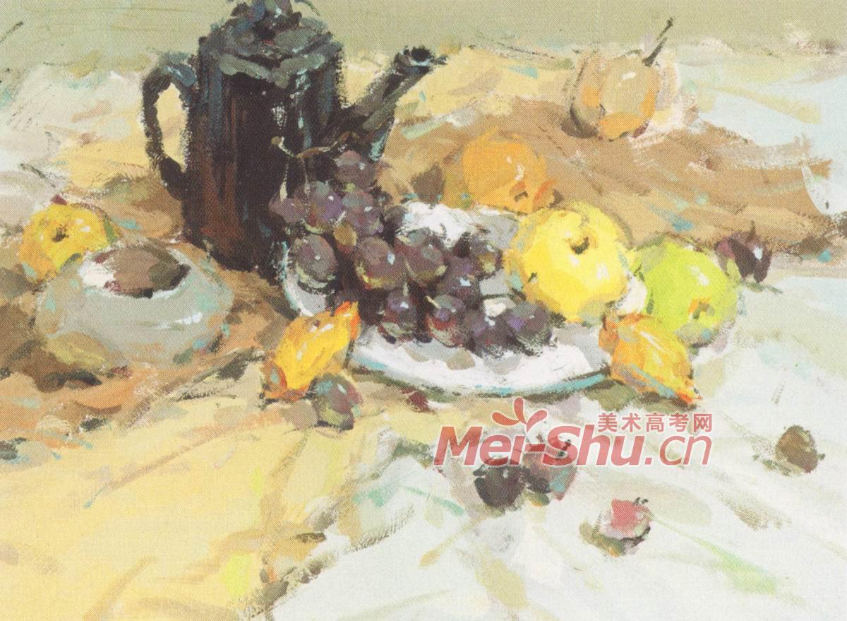 色彩静物水粉范画陶罐子瓷盘苹果香蕉台布