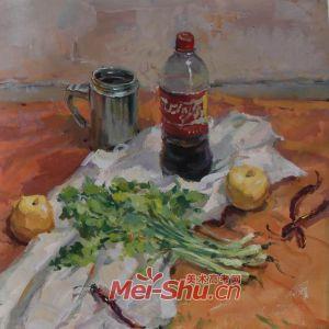 色彩静物组合-水彩画,香蕉,苹果,茶壶,竹篮,白菜,书,红辣椒,可乐(图3)