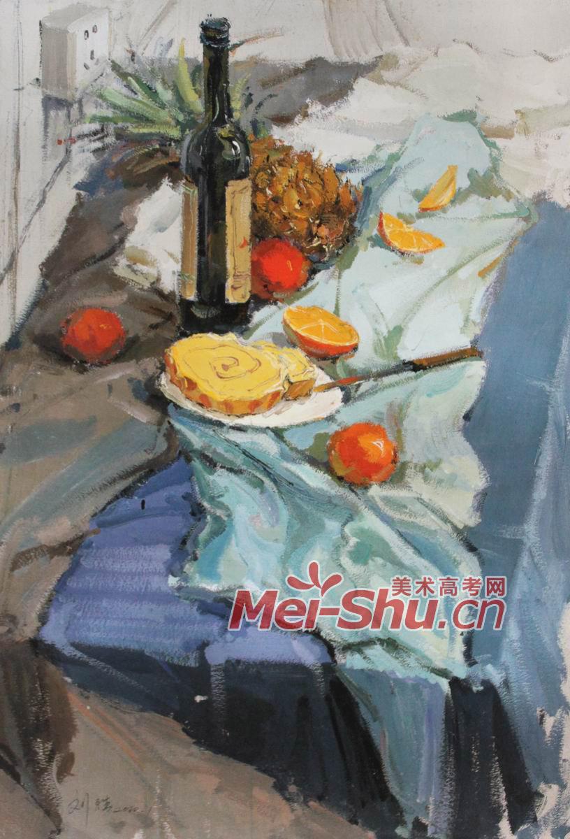 色彩静物组合-红酒瓶,玻璃罐子,水粉画,果汁,西瓜,罐子,啤酒瓶