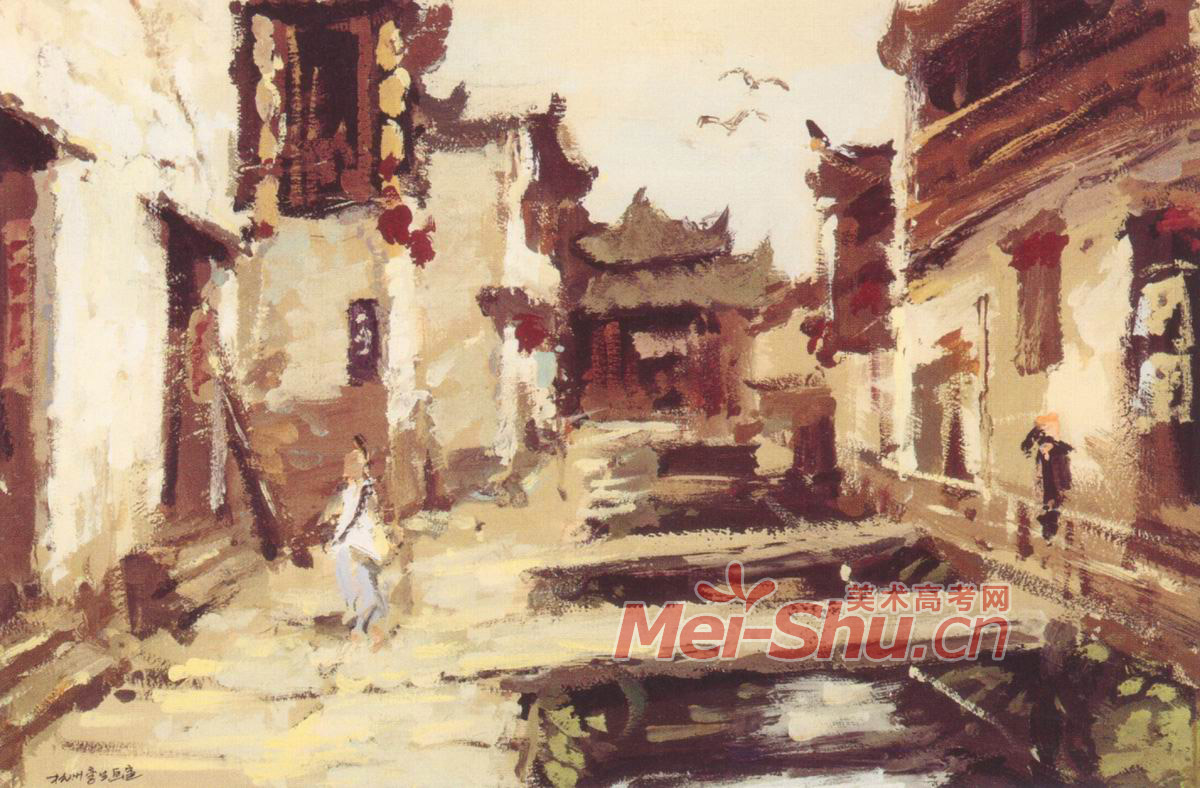 色彩风景范画例图江南水乡水道小镇一角