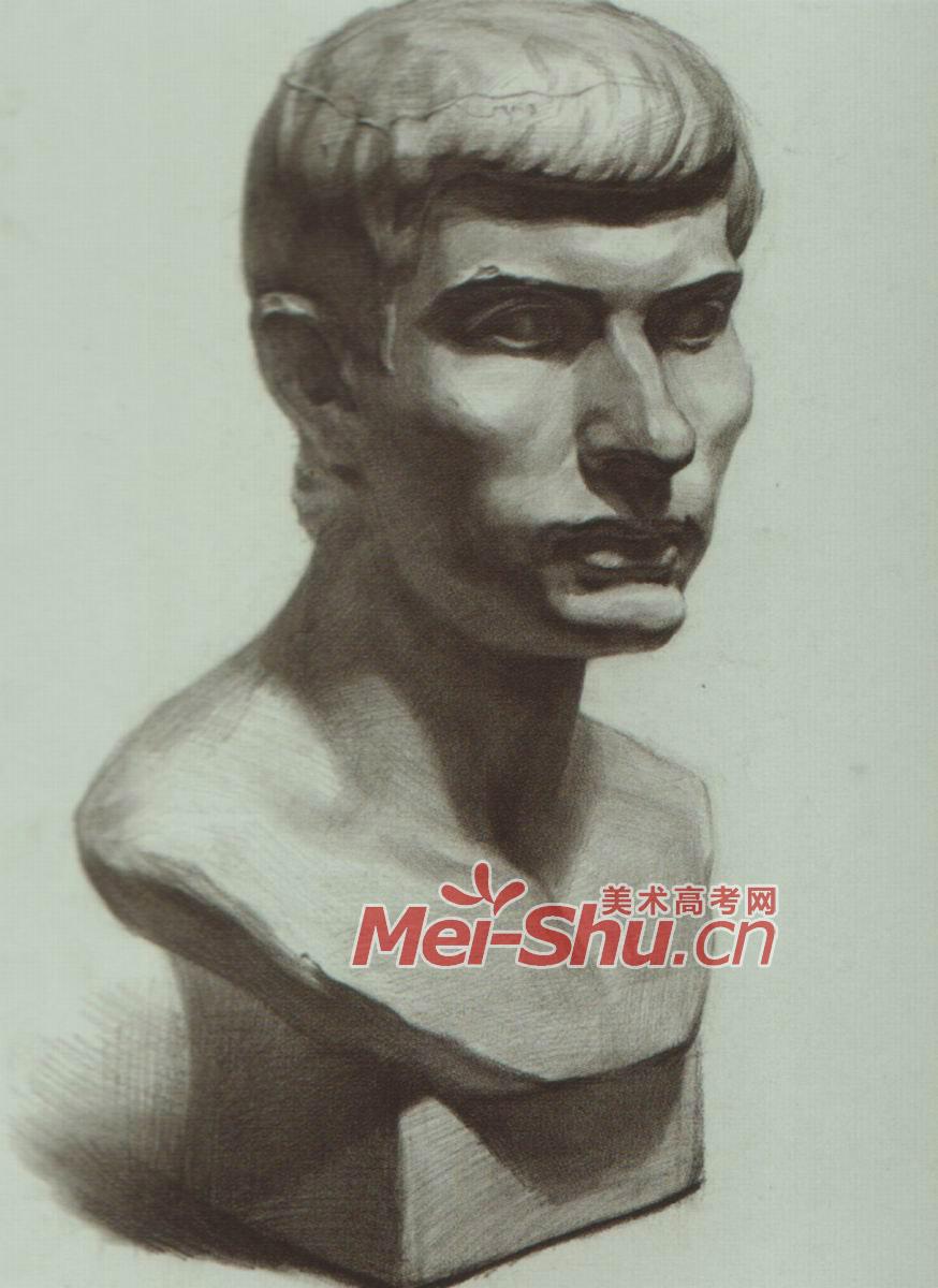 素描石膏像,罗马青年头像,正侧面,四分之三侧,素描石膏体头像