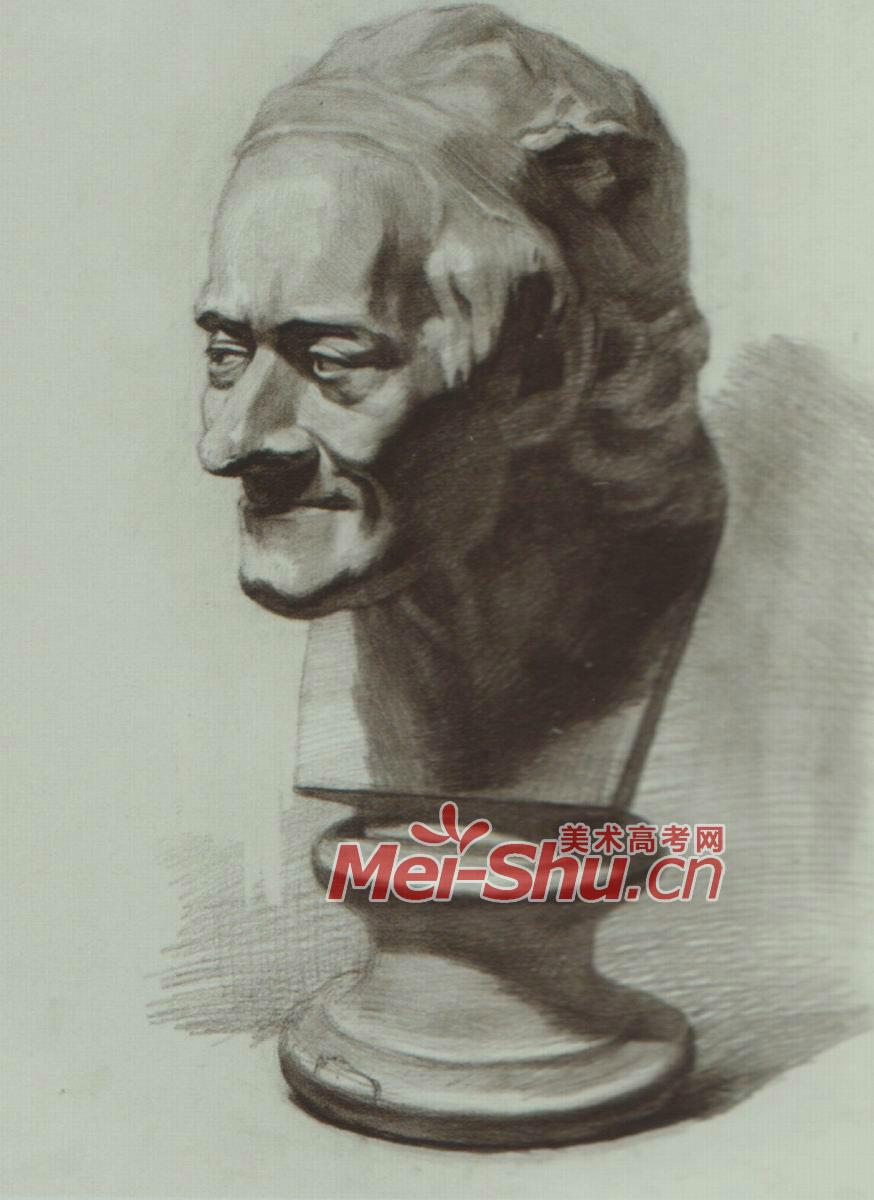 素描石膏体头像伏尔泰侧光逆光正面侧面俯视仰视