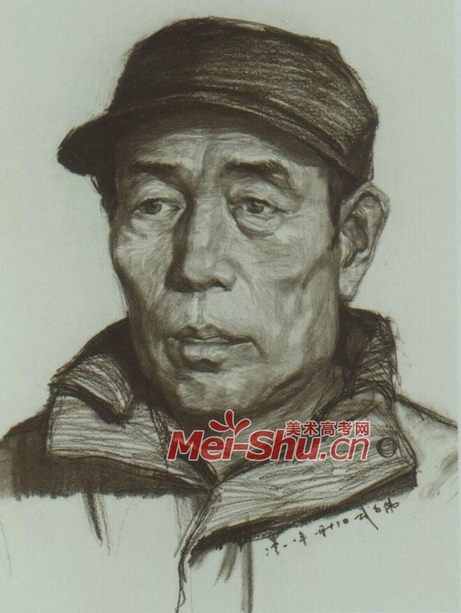素描人头像中老年人正面写生戴帽子的老头