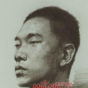 素描人头像中青年中青年头像正侧面例图