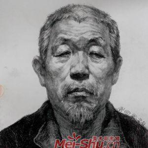 素描人物头像写生-白珠子老头