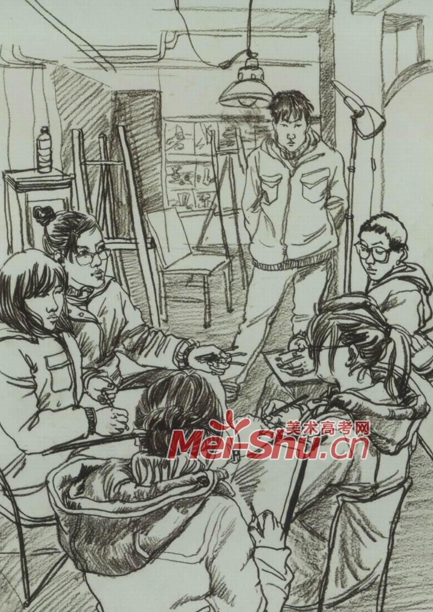 场景速写 画室一角,宿舍,菜市场,滑旱冰的孩子