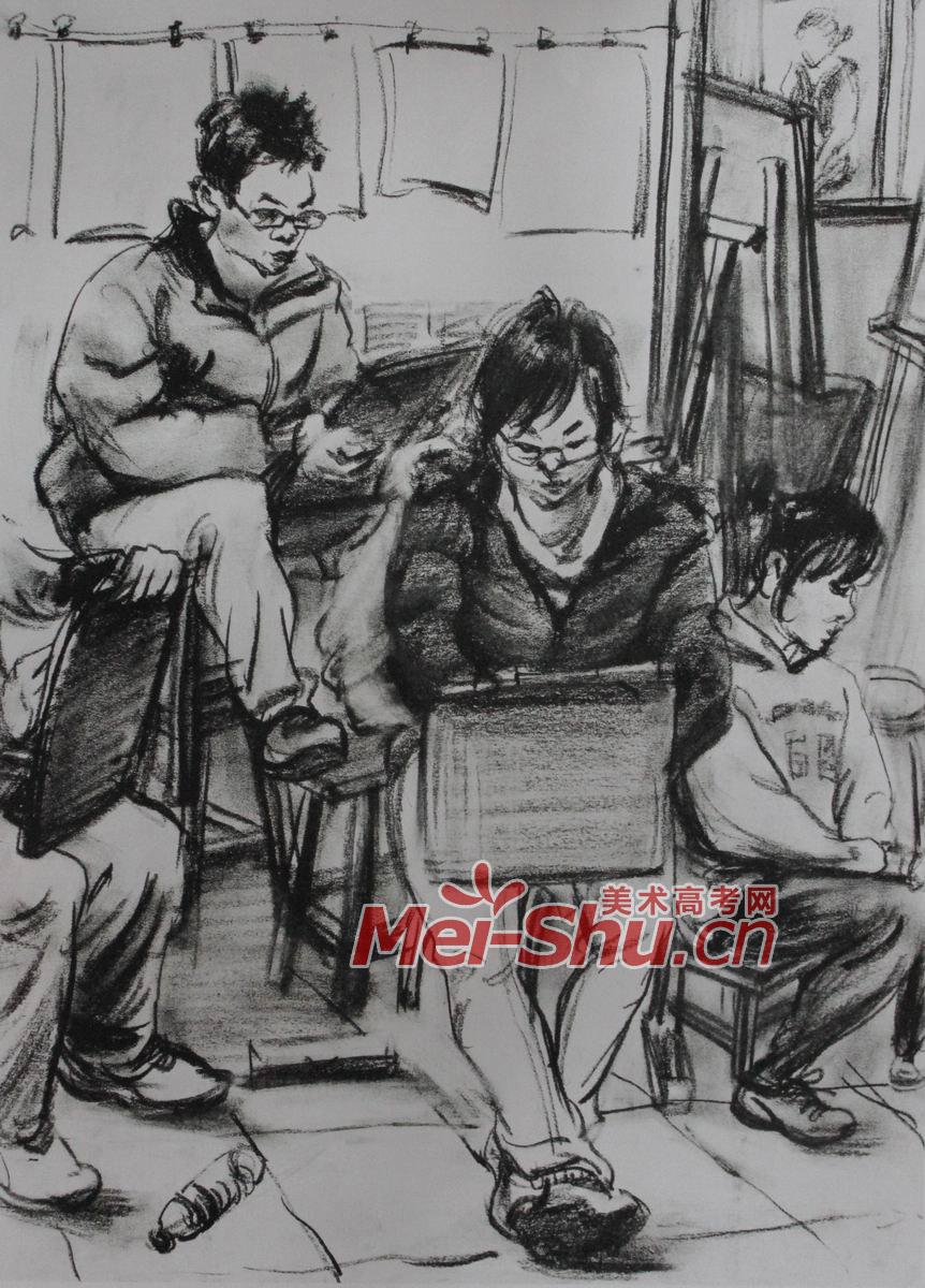 人物场景组合速写 穿棉衣的人,坐姿速写,戴眼镜的人人物速写,