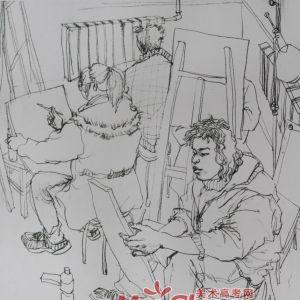 人物组合场景速写-男年轻人,上课,画室,教师,画画,坐姿,坐着,凳子(图3