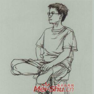 速写人物坐姿二郎腿抱着包坐着的女青年正侧面正面坐姿