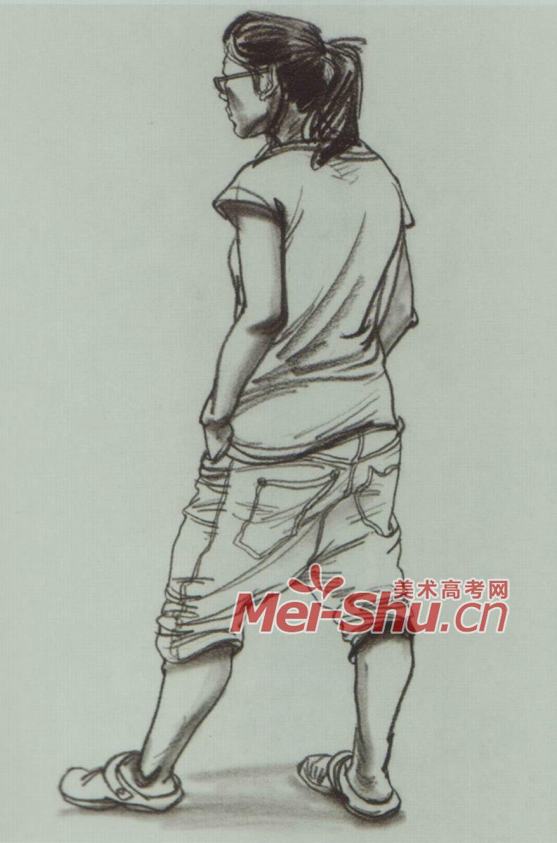 速写人物担单人速写穿拖鞋的人男女青年挂着单肩包的女性女青年
