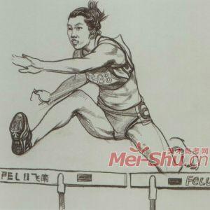 速写男青年女青年单个人物速写跳远跳绳走路