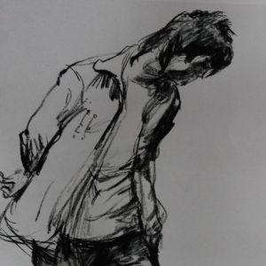 速写人物-单个人物,速写,拖地的人,画画的人,手摸头发