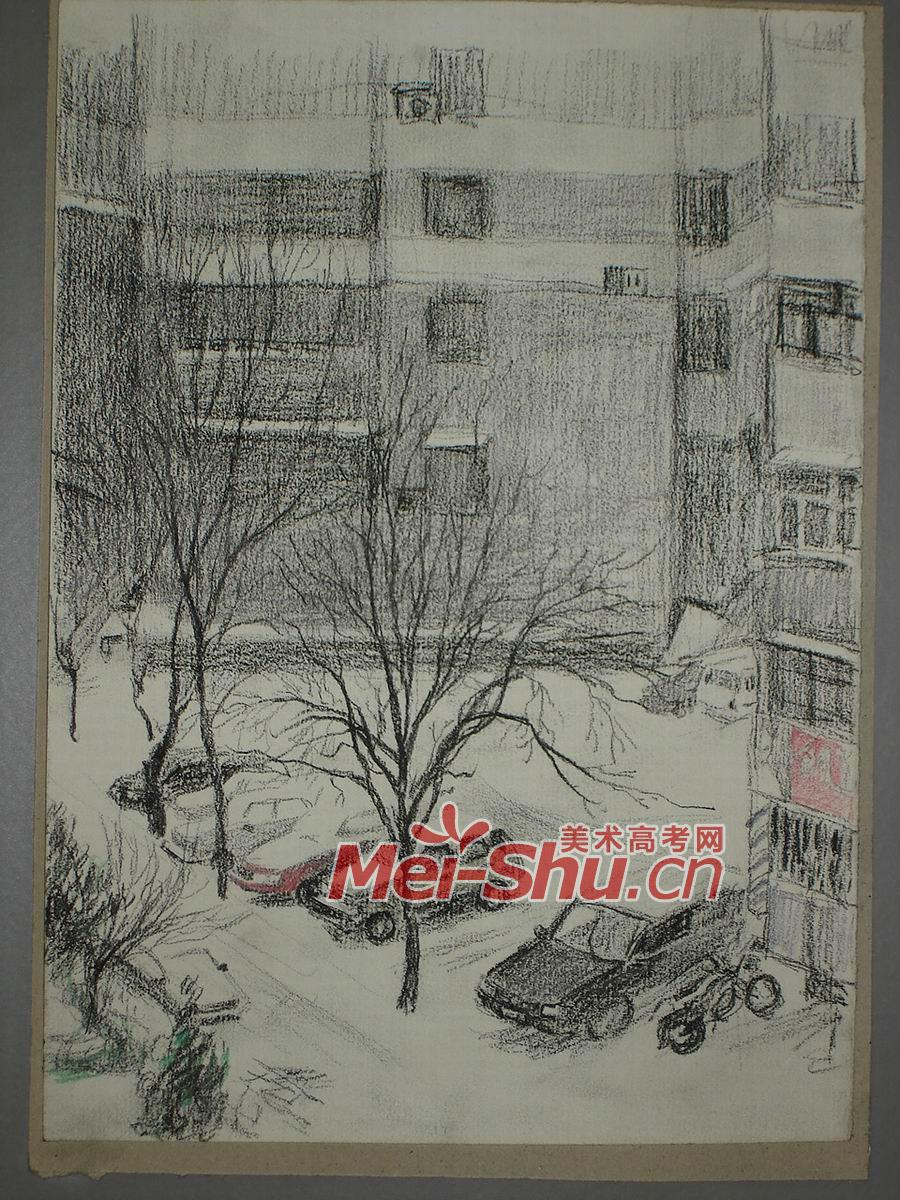 风景速写-树,房子,街道,公交车,冰,冬天,风景写生,建筑风景,夜晚