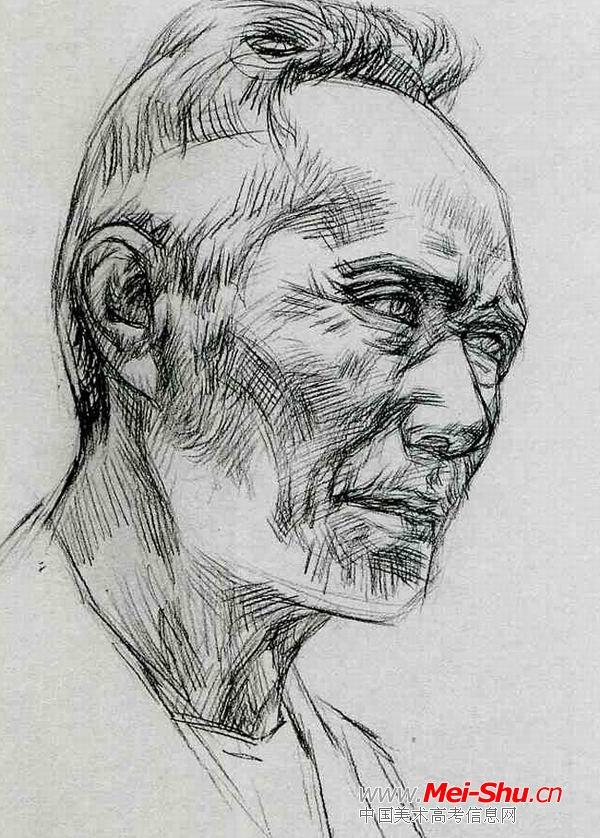 高额老人—真人头像—美术高考素描教程