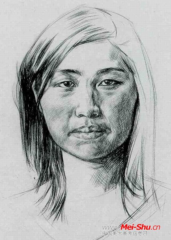 正面女生—真人头像—美术高考素描教程