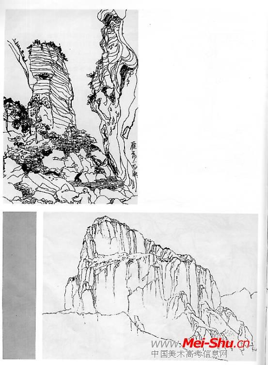 山石效果图手绘线稿