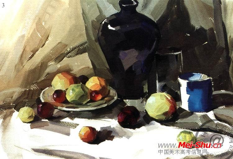 《深色罐子和水果》水粉步骤图