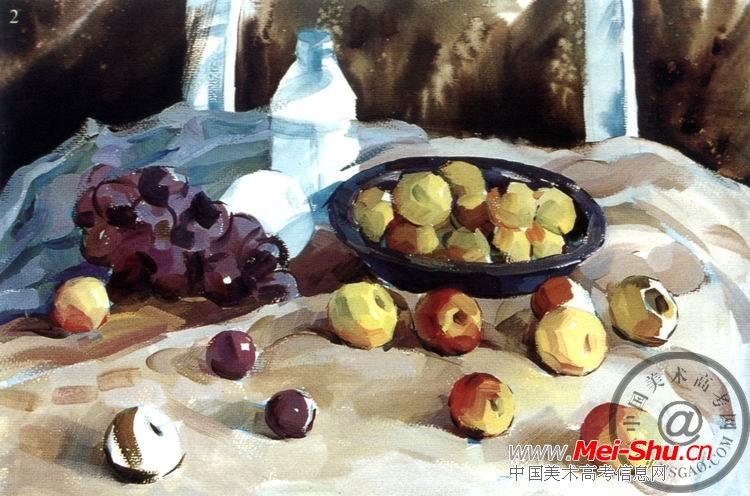 《葡萄和苹果》色彩写生步骤图