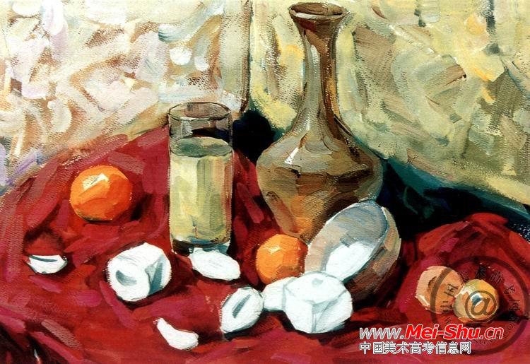 玻璃杯和水果》色彩写生步骤图