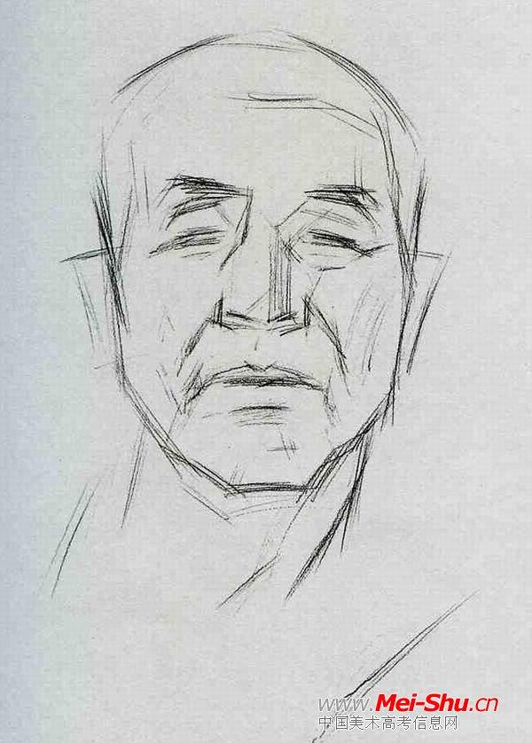 正面老头—真人头像—美术高考素描教程