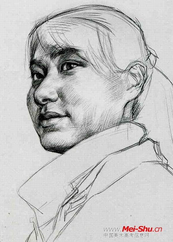 高领女孩—真人头像—美术高考素描教程