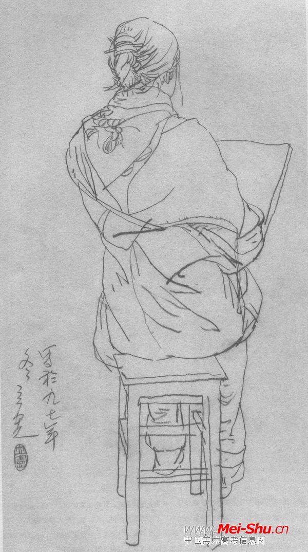 素描古装人物背影