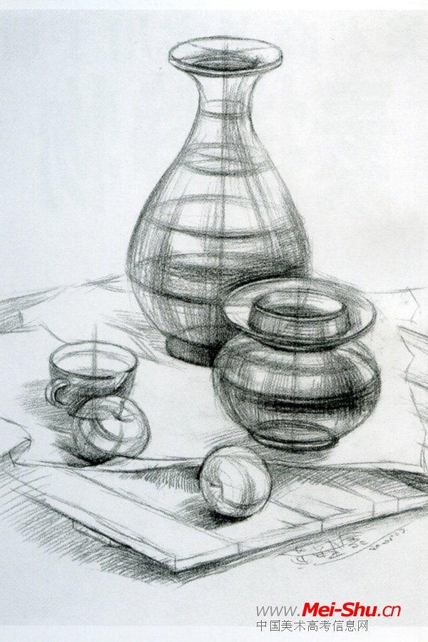 美术高考素描静物示范作品001