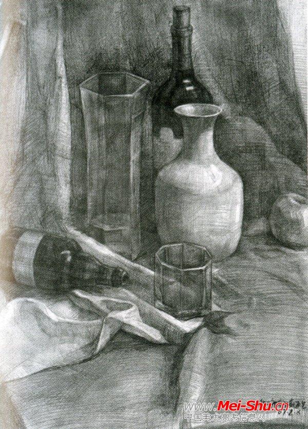 美术高考素描静物示范作品038
