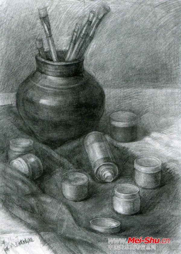 美术高考素描静物示范作品073