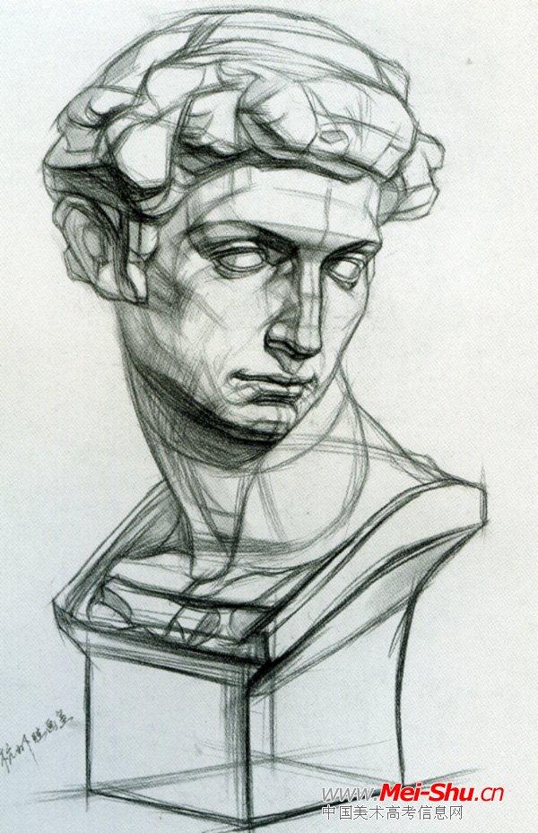 美术高考素描石膏像示范作品007