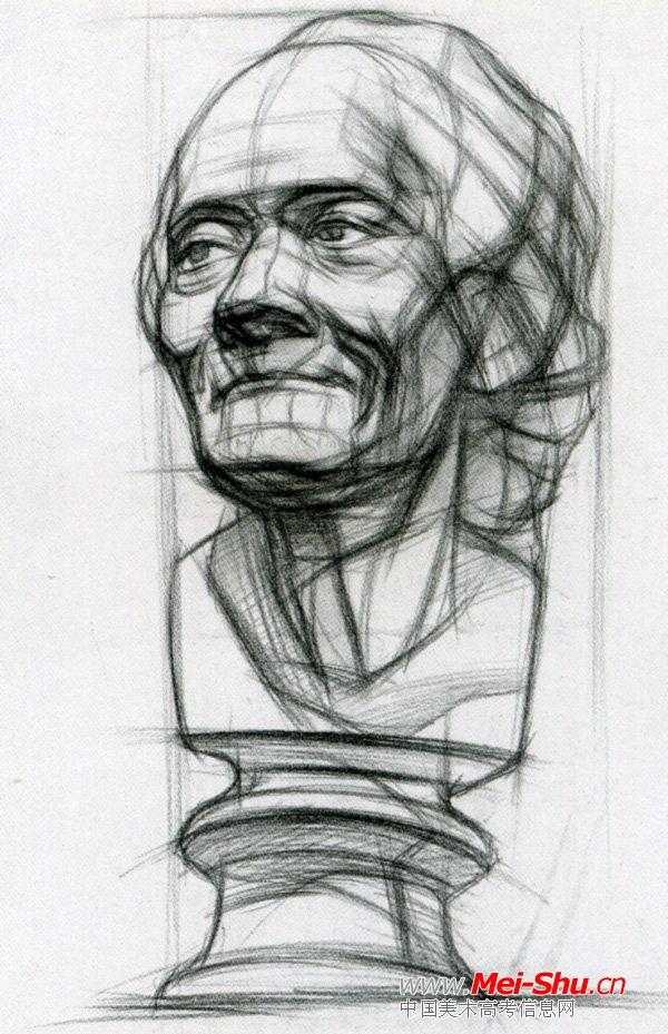 素描石膏头像步骤图