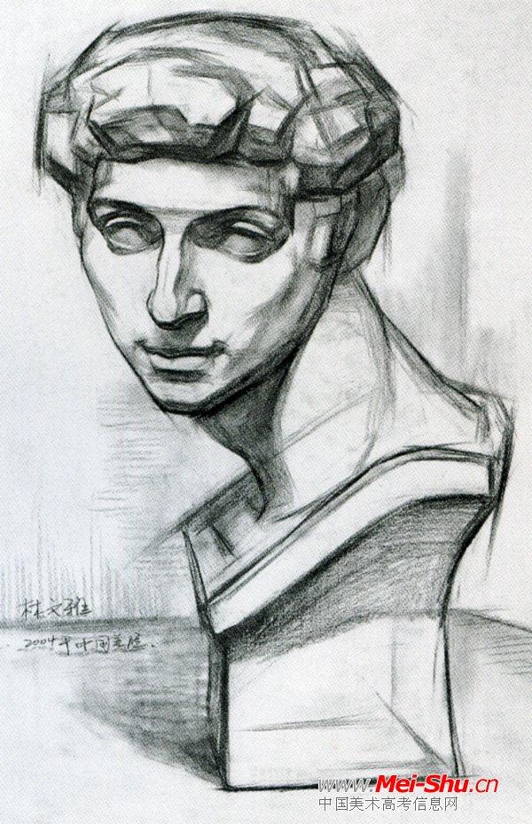 大卫石膏像素描美院展示