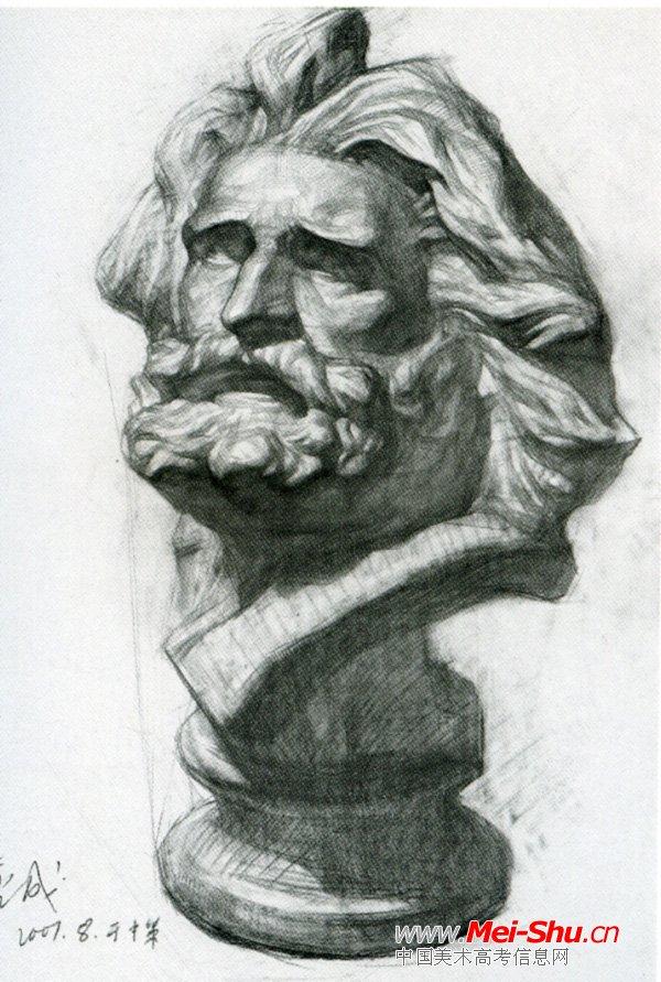 马赛石膏头像_素描马赛曲石膏像写生步骤