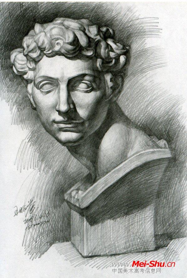 大卫头像素描 石膏像图片