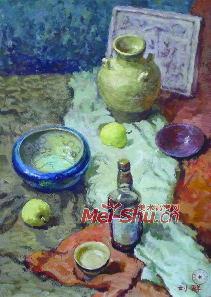 西瓜 瓶子 罐子色彩静物写生步; 西瓜 瓶子 罐子色彩静物写生步骤教程
