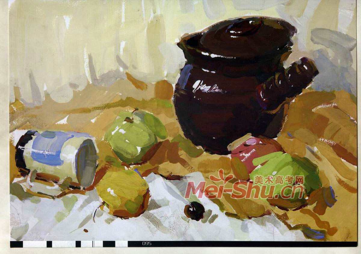 色彩静物组合十二(红苹果,罐子,陶罐,啤酒瓶,水果刀,台布,盘子)