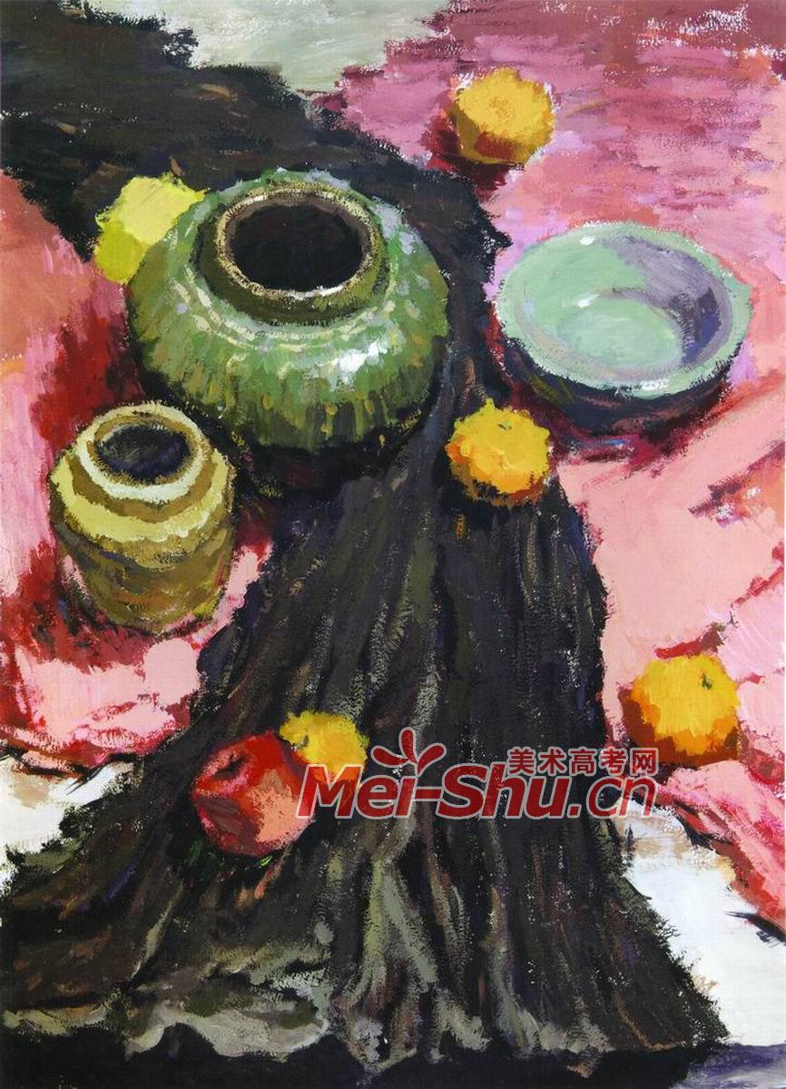 色彩静物组合十六(西瓜,坛子,罐子,陶,瓷,台布,水果,花瓶,葡萄)