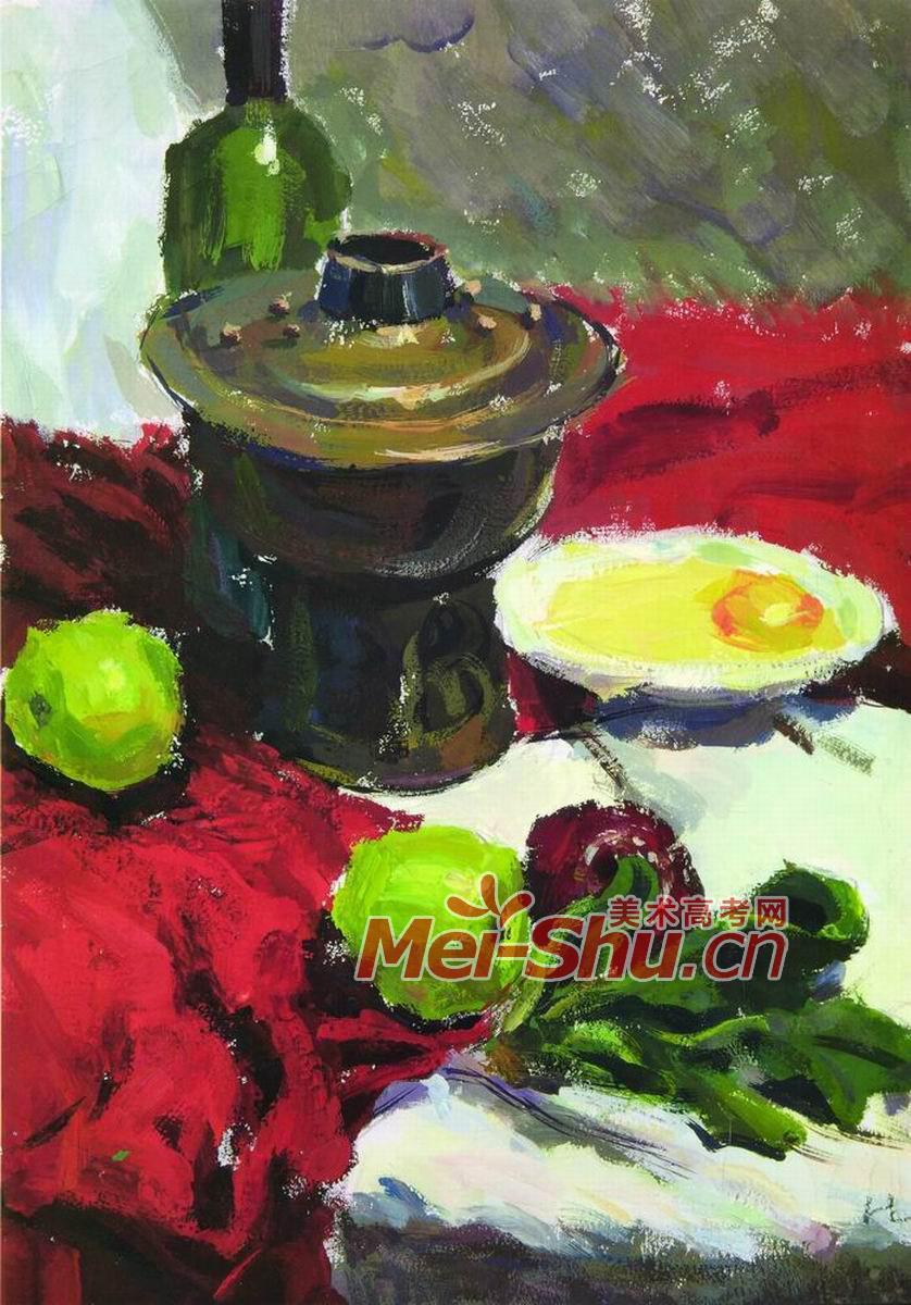 色彩静物组合十九 不锈钢,金属茶壶,水果,盘子,勺子,切片面包,