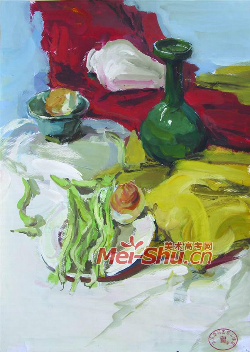 色彩静物组合25(蔬菜,豇豆,鸡蛋,菠萝,不锈钢,茶壶,橘子,南瓜,桃