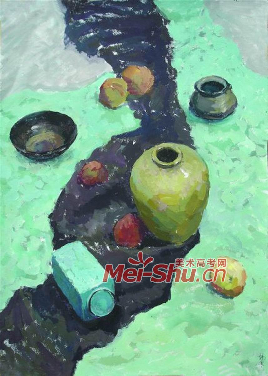 色彩静物组合一(罐子,黑罐子,碗,苹果,蓝色台布,绿色台布,点彩