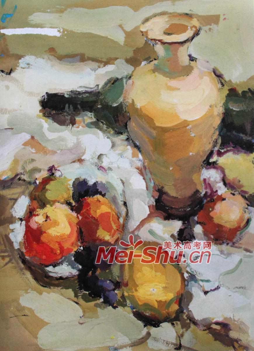 色彩静物组合黄苹果白盘子瓷罐子花瓶水粉画技法(2)