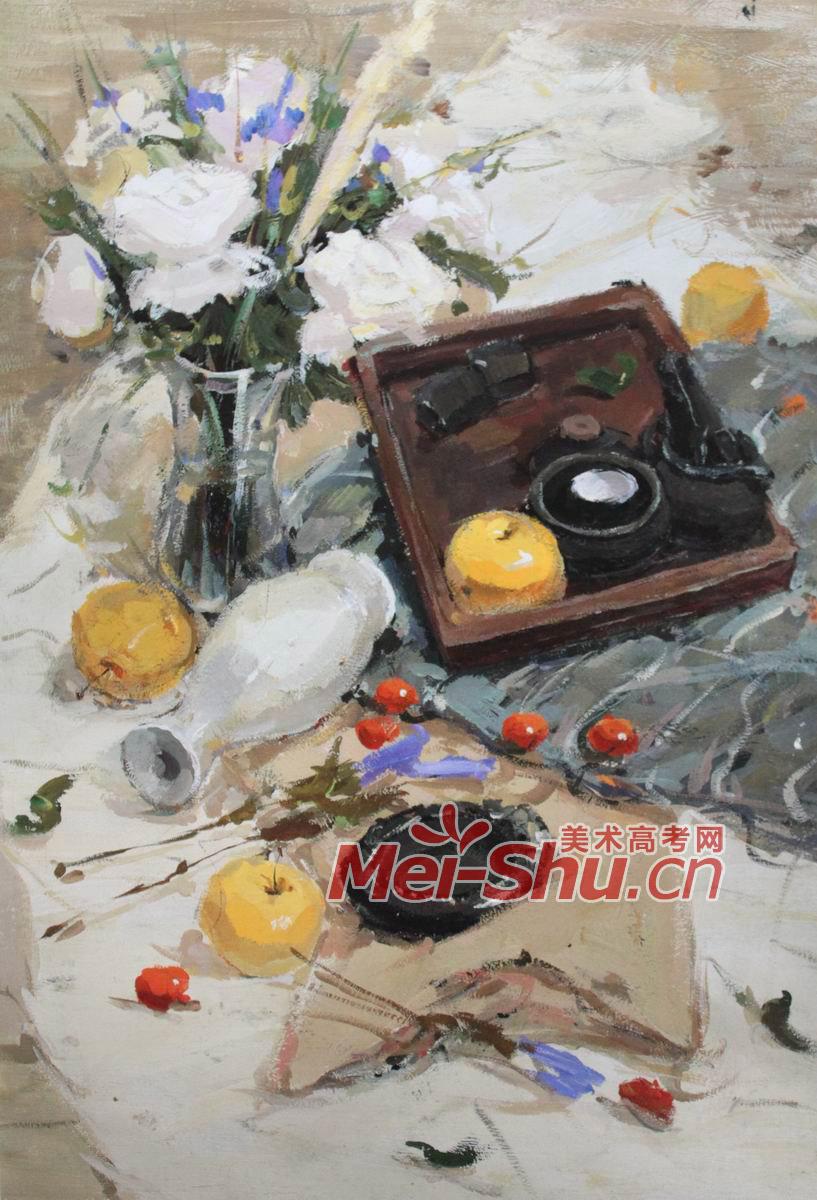 色彩静物组合 鲜花,铜茶壶,果盘,碗,台布,水彩画,玻璃,花瓶,