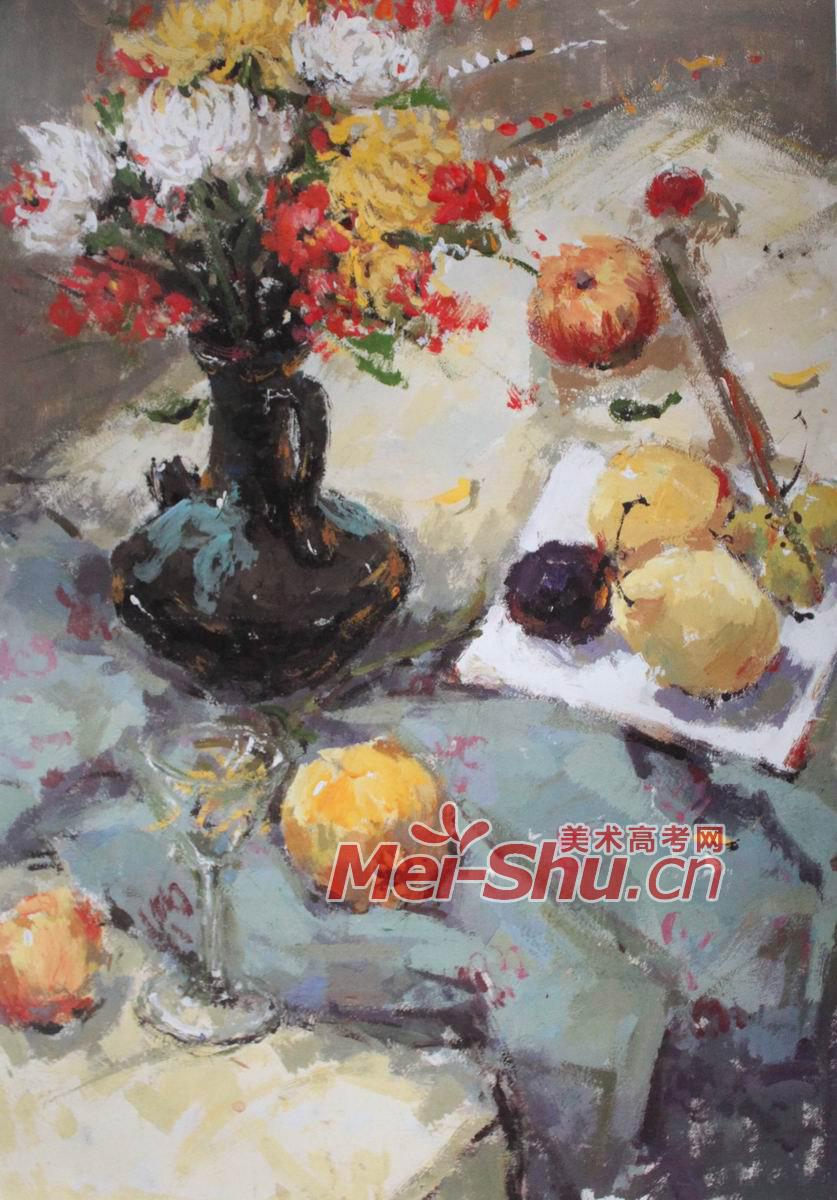 青花瓷瓶,梨,水粉画
