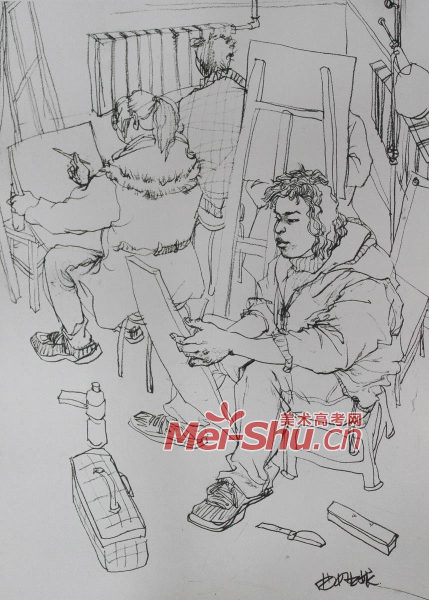 人物组合场景速写 男年轻人,上课,画室,教师,画画,坐姿,坐着,