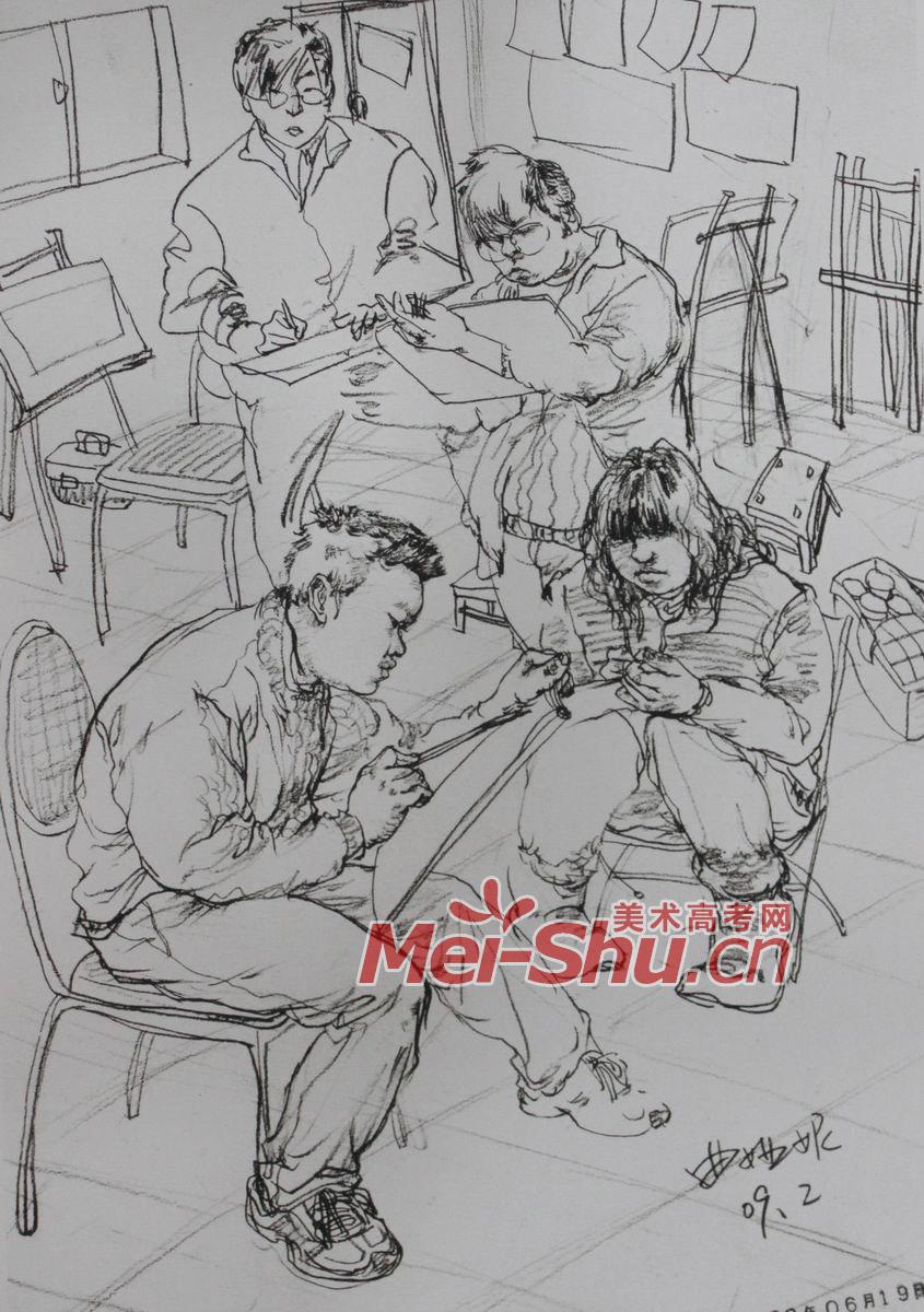 人物组合场景速写 男年轻人,上课,画室,教师,画画,坐姿,坐着,凳子