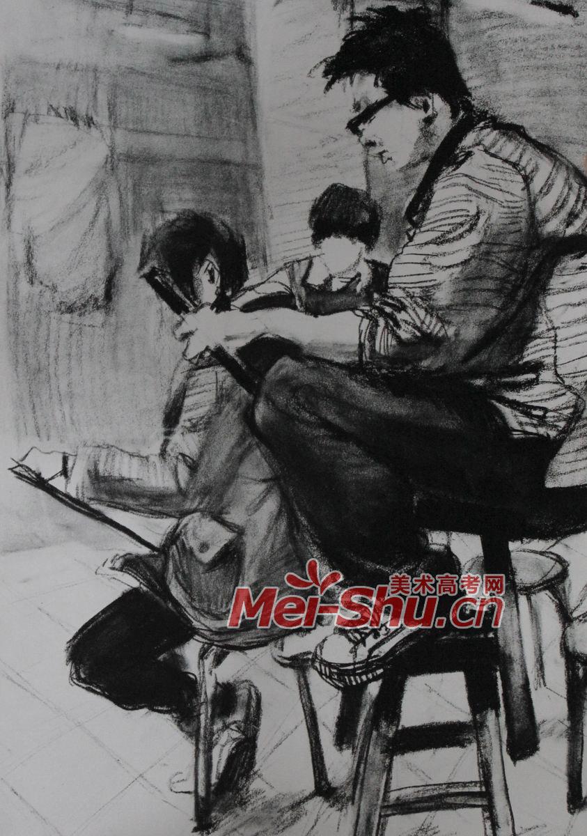 人物组合场景速写 女性,坐姿,人物写生,速写,男性,年轻人,画画