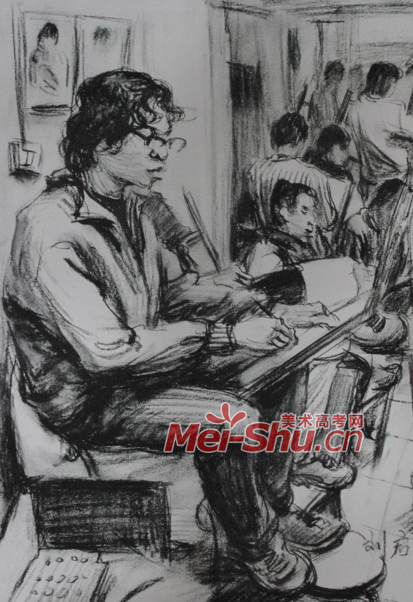人物场景组合速写 画画的年轻人,男性,室内,场景,坐姿,学习