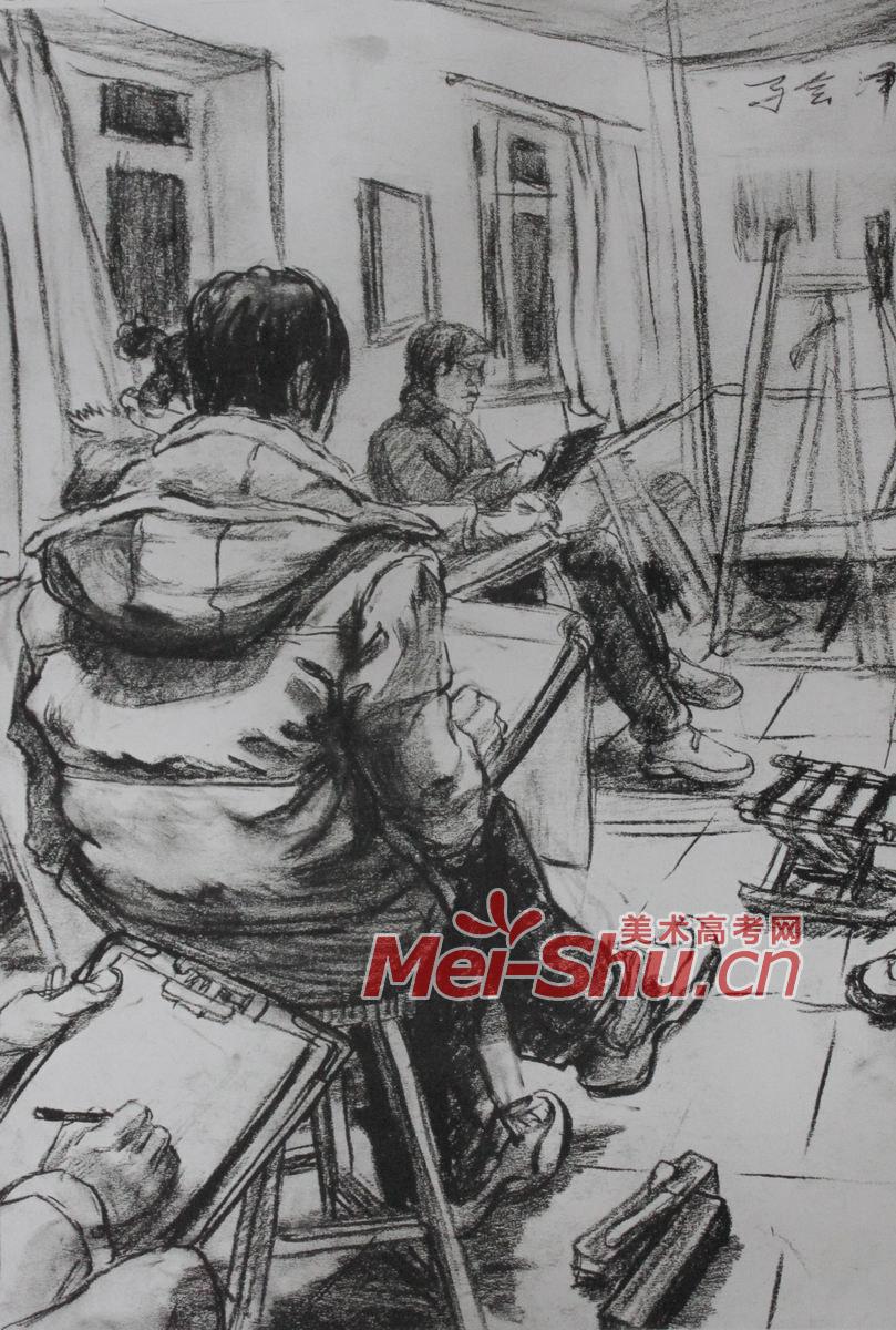 场景,速写   画画的人,画室一角,人物速写,人物组合速写,穿羽绒